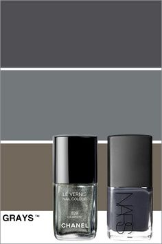 Nars nail polish in galion and Chanel polish in Graphite.