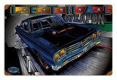 "Just ask that conniving coyote—never underestimate a Road Runner! This 18"" x 12"" Lethal Weapon sign delivers a deadly dose of 440 Six-Pack power to unsuspecting walls, courtesy of Plymouth's legendary musclecar. It's printed on 24-gauge powdercoated steel, finished with weathered corners, and it's drilled, riveted, and ready to hang."
