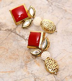 Red And Golden Embellished Earrings