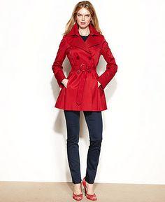 Via Spiga Raincoat, Pleated Short Trench - Coats - Women - Macy's