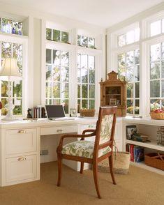 Sunroom Office, Cozy Home Office, Office Nook, Home Office Design, Home Office Decor, House Design, Home Decor, Sunroom Ideas, Orangerie Extension