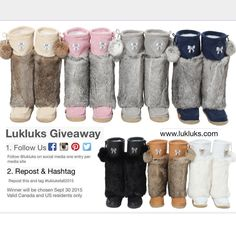 Lukluks giveaway Win a pair of any size and color of your choice. Contest ends Sept 30 2015 Winner announced Oct 1 2015 at PST Valid only to Canada and U. Ten, Me Too Shoes, My Style, Oct 1, Canada, Fur Boots, Giveaways, Moccasins, Outfits