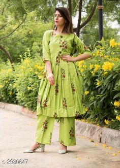 Checkout this latest Kurta Sets Product Name: *Women Cotton Pleated Printed Long Kurti With Palazzos* Fabric: Kurti - Cotton Palazzo - Cotton Sleeves: Sleeves Are Included Size: Kurti - 38 in 40 in 42 in 44 in Palazzo - 30 in 32 in 34 in 36 in Length: Kurti - Up To 44 in Palazzo - 38 in Type: Stitched Color: Green Description: It Has 1 Piece Of Women's Kurti With 1 Piece Of Women's Palazzo Work: Kurti - Printed Palazzo - Printed Country of Origin: India Easy Returns Available In Case Of Any Issue   Catalog Rating: ★4.2 (258)  Catalog Name: Women Cotton Pleated Printed Long Kurti With Palazzos CatalogID_399251 C74-SC1003 Code: 084-2930647-8541