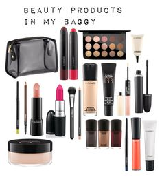 """""""beauty products in my baggy"""" by camillastefan1 on Polyvore featuring bellezza, H&M e MAC Cosmetics"""