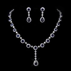 Absolutely Gorgeous! Sapphire Blue CZ Bridal Jewelry Set with Necklace and Drop Earrings - Affordable Elegance Bridal -
