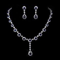 Gorgeous Sapphire Blue CZ Bridal Jewelry Set - Affordable Elegance Bridal -