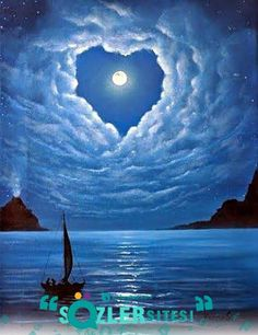 A moon for Candace. Love in the air by Ksusha Scott Oil Night clouds Moon Love Romance Moon Pictures, Pretty Pictures, Cool Photos, Beautiful Moon, Beautiful World, Beautiful Places, Heart In Nature, Nature Nature, Night Skies