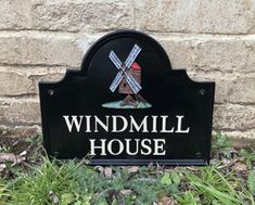 House Sign - Windmill House made to order in our UK foundry. House Name Signs, House Names, Cottage Signs, Farm Signs, English House, Traditional House, Metal Signs, Windmill, Home Crafts