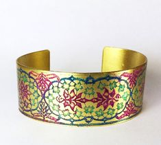 Etched Brass Cuff Hand Painted Flowers by AmongTheRuins on Etsy Copper Gifts, Copper Cuff, Painted Flowers, Steel Chain, Agate Beads, Hand Coloring, Cuff Bracelets, Hand Painted, Unique Jewelry