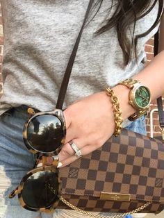 Louis Vuitton Favorite MM Damier, Karen Walker Sunglasses, Michael Kors watch