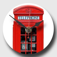 Recycled CD Clock  Red Telephone Box A by whimsicalfishes on Etsy,