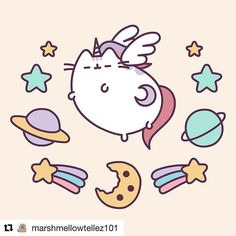 Why be a normal #pusheen when you can be a #unicornpusheen? #kawaii #cutenessoverload.  Shop our instafeed ——-> link in bio.
