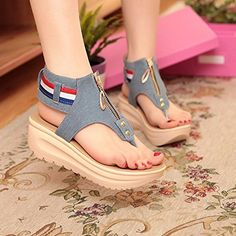 Senza Fretta Wedges Shoes For Women High Heel Summer Ladies Gladiator Sandals  Woman Platform Cowboy Zipper Sandalias Mujer 2018 70716f483799