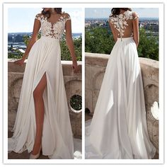 Ivory Lace Beach Wedding Dresses,Front Slit See Through Wedding Dress,Cap Sleeves Wedding Gowns