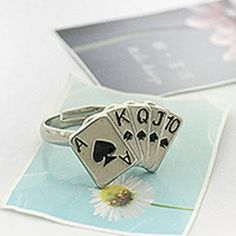 Coming Soon Lady's Poker Ring ♠️ 2 Available ♣️ Brand:  New   Material:Alloy    Type: Ring   Main Colour:  See the picture   Size:Adjustable   Quantity:1 Piece Jewelry Rings