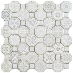 EliteTile Edredon x Ceramic Octagon and dot Mosaic Wall & Floor Tile Ceramic Mosaic Tile, Mosaic Wall, Wall Tiles, Backsplash Tile, Backsplash Ideas, Kitchen Flooring, Bathroom Flooring, Ceramic Flooring, Tile Flooring