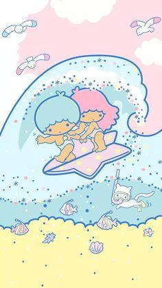 Little twin stars Kiki and lala surfing