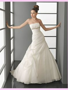 White A Line Organza Wedding Dress