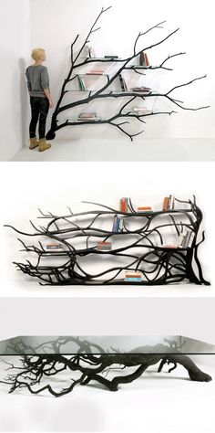 Artist Sebastian Errazuriz found a fallen tree branch and instead of letting a wood chipper decide its fate he gave it new purpose as a modern shelving unit. - Wood Chipper - Ideas of Wood Chipper Cool Furniture, Furniture Design, Luxury Furniture, Tree Furniture, Furniture Stores, Contemporary Furniture, Tree Shelf, Diy Home Decor, Room Decor