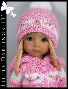 "OOAK Pink Hooded Sweater Outfit for Little Darlings Effner 13"" by Maggie & Kate"