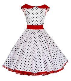 Spodnička šaty 50s bílá černá červená body