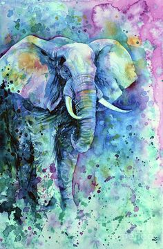 Elephant Painting - Elephant In A Purple Cloud by Zaira Dzhaubaeva
