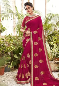 Buy Magenta Chanderi Silk Festival Wear Saree 201616 with blouse online at lowest price from vast collection of sarees at Indianclothstore.com. Chanderi Silk Saree, Lehenga Choli, Silk Sarees, Sari, New Fashion Saree, Celebrity Gowns, Indian Designer Sarees, Neck Deep, Trendy Sarees