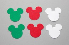 Christmas Mickey Mouse Confetti 100 Red Green by SammysCraftShop