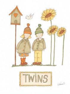 """""""twins""""... jumeaux aux """"Promarker"""" automne twins#promarker#illustration#art-thérapie"""