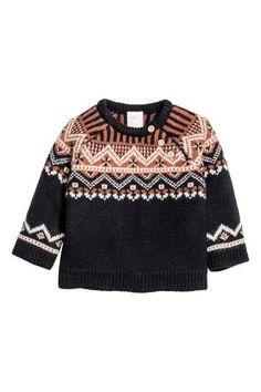Jacquard-knit wool jumper