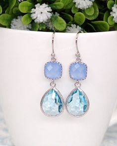 Erinite cushion and Aquamarine teardrop earrings in rose gold. Pastel jewelry, Perfect for everyday and special occasion. Gifts for her and bridesmaids. Silver and rose gold.