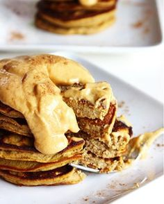 Flourless Pumpkin Plantain Pancakes with pumpkin whipped cream Gf Recipes, Gluten Free Recipes, Real Food Recipes, Yummy Food, Tasty, Thanksgiving Recipes, Holiday Recipes, Fall Breakfast, Breakfast Ideas