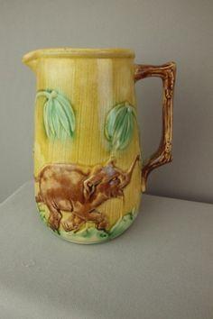 """Majolica """"Jumbo"""" elephant pitcher, 6 3/4"""""""