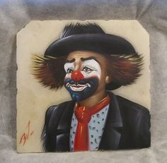 "SMILING HAPPY CLOWN PAINTING ON 8"" x 8"" MARBLE SLAB #Modernism"