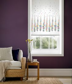 Zoe bright roller blinds from Style Studio. Roller Blinds Kitchen, Modern Roller Blinds, Modern Blinds, Patterned Blinds, Plum Walls, Blinds For Windows, Window Blinds, Contemporary Windows
