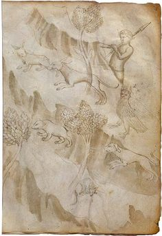 Attributed to Thomas da Modena Sketchbook, 1360 - 80  Pen and brown ink, with brown wash and some watercolor on parchment