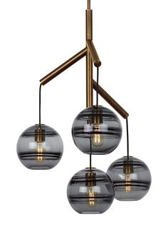 Sedona Single 4-Light LED Chandelier from Tech Lighting: Deconstructed modern chandelier, where glass orbs are suspended from the sleek branchlike Aged  Brass  central hub via contrasting textured cloth covered cords to make a distinctly alluring visual statement. While each transparent smoke glass orb is perfectly spherical and smooth on the exterior surface, the interior surface features gradually thickening bands of glass.Perfect for your kitchen island, dining room, or living room…