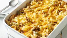 Lightened-Up Philly Cheese Steak Mac and Cheese Bake-Pillsbury Slider Buns, Pasta Recipes, Dinner Recipes, Cooking Recipes, Cheese Recipes, Ritz Crackers, Brisket, Chefs, 16 Bars