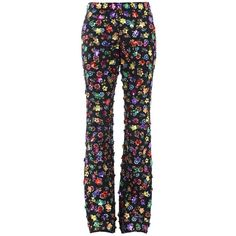 Moschino Casual Trouser ($1,470) ❤ liked on Polyvore featuring pants, black, floral print trousers, sequin trousers, moschino, sequined pants and moschino pants