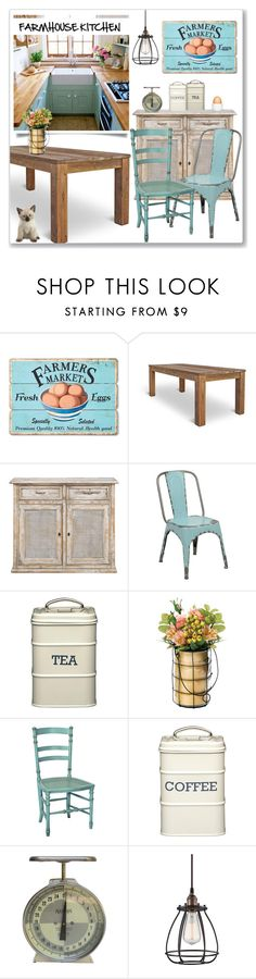 """Farmhouse Kitchen"" by ldtrollinger ❤ liked on Polyvore featuring interior, interiors, interior design, home, home decor, interior decorating, WALL, Dot & Bo, Redford House and kitchen"