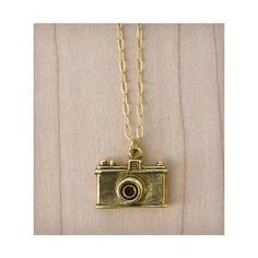 Muses & Rebels Camera Necklace - Gold ($65) ❤ liked on Polyvore
