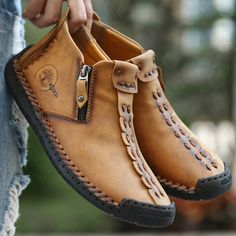 Menico Menico Men Hand Stitching Leather Non Slip Side Zipper Soft Sole Casual Boots is fashionable, come to NewChic to buy mens boots online. Mens Boots Online, Shoes Online, Stitching Leather, Hand Stitching, Mens Boots Fashion, Fashion Men, Fashion Shoes, Male Hands, Mocassins