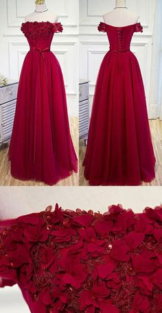 Applique Evening Dresses, Burgundy A-line/Princess Prom Dresses, Long Burgundy Prom Dresses, Prom Dresses Burgundy Hand-Made Flower Prom Dress/Evening Dress Wite Prom Dresses, Short Sleeve Prom Dresses, Princess Prom Dresses, Elegant Bridesmaid Dresses, A Line Prom Dresses, Tulle Prom Dress, Ball Dresses, Lace Dress, Long Dresses
