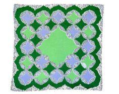 RETRO HANKIE MidCentury Geometric Grid Spring Green by CUSHgoods