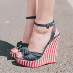 Denim and red and white striped platform sandals with little bows. My Memorial Day and 4th of July shoes!