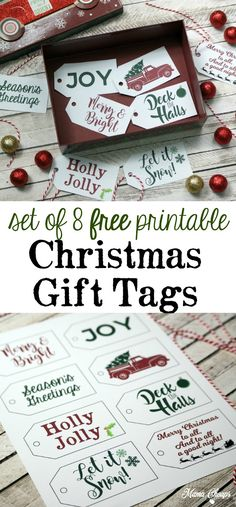 Free Christmas Gift Tags - Set of 8 FREE printable tags - Baby Stuff and Crafts Christmas Tag Templates, Free Printable Christmas Gift Tags, Free Christmas Gifts, Free Printable Gift Tags, Christmas Labels, Holiday Gift Tags, Christmas Time, Christmas Parties, Christmas Ideas