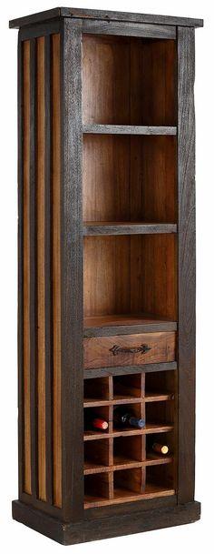 Farbe Schubkästen: natur, Farbinnenausführung entspricht Farbe des Korpus, Farbe Griffe: antikschwarz,  Details:  2 feste Holzböden, Fachinnenmaße (B/T/H): ca. 50/33/33 cm, 1 Schublade, Schubladeninnenmaße (B/T/H): ca. 37/26/8 cm, Im Landhaus-Stil, FSC®-zertifiziertes Massivholz, Das Holz ist lackiert, Metallgriffe, Ablage für 12 Flaschen,  Maße:  60/40/190 Maße (B/T/H):,  Informationen zu Lief...