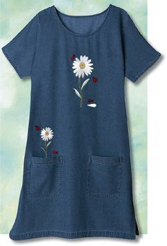 EMBROIDERED LADYBUG DENIM DRESS