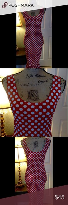 "Red polka Dot Mermaid Stretch dress Brand new without tag.  Never been worn.   Very fun, sexy, retro, Pinup, vintage style, flirty, mermaid  dress.  Hugs your curves.  Comfortable.  Perfect for the holidays. Doesn't have a tag, but it feels like Small size.        Laying flat unstretched, Arm pit to arm pit 15"".  Waist 13.5"", hip 15.5"", length from top of shoulder 44"" Dresses"
