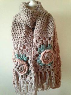 Not my work. Beautiful scarf inspiration. Crochet Prayer Shawls, Crochet Mittens, Crochet Slippers, Crochet Scarves, Crochet Clothes, Crochet Flower Scarf, Crochet Baby Dress Pattern, Crochet Shawl, Crochet Lace